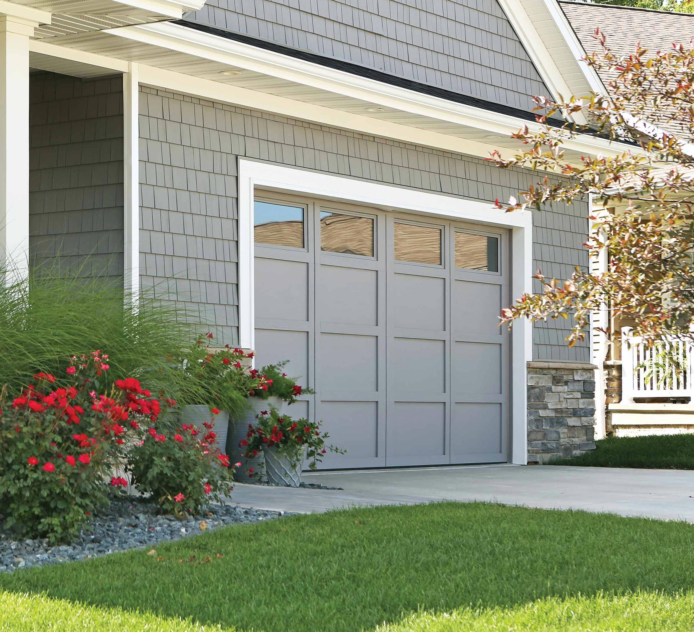 Carriage House Horizontal Vertical Overlays Model 7540-302 Gray Plain Square